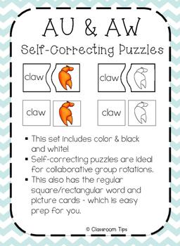 Dipthongs: AU & AW Self-Correcting Puzzles