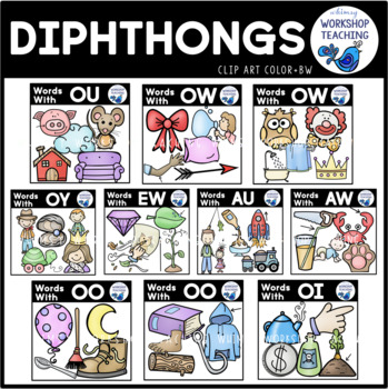 Diphthongs Phonics Clip Art - Whimsy Workshop Teaching