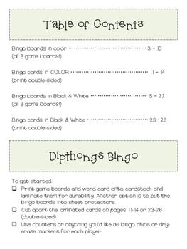 Dipthongs: OI  & OY BINGO (Color and B&W)