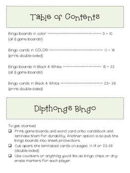 Dipthongs: OO  & OO BINGO (Color and B&W)