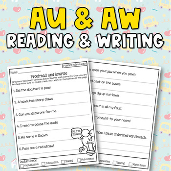Dipthongs (aw & au) Sentence Writing Activity (3 in 1)