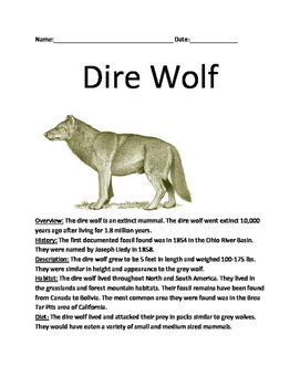 Dire Wolf Extinct - Review Article lesson facts information questions vocab