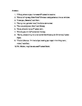 Direct Address - Comma Rule Worksheet