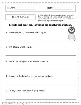 Direct Address Worksheets