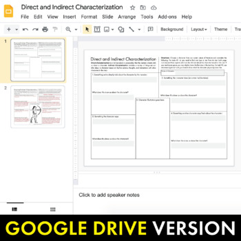 Characterization worksheet 3