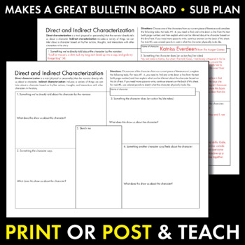 Direct & Indirect Characterization, Fun Print-and-Teach Worksheet for Any Text