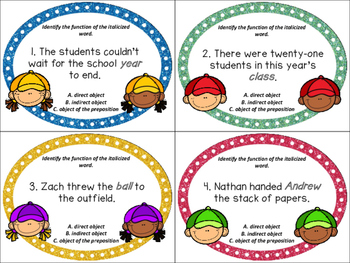 Direct, Indirect, and Prepositional Objects Task Cards