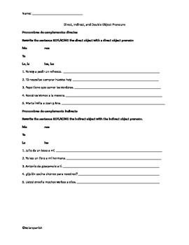 Direct Indirect objects practice review sheet