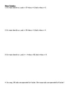 Direct, Inverse, Joint, and Combined Variation intro worksheet and practice