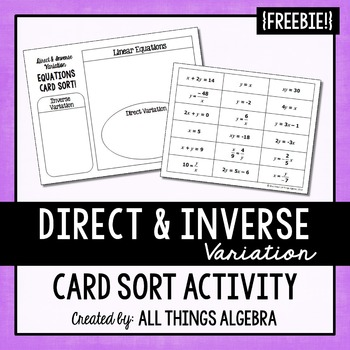 direct inverse variation equations card sort by all things algebra. Black Bedroom Furniture Sets. Home Design Ideas
