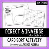Direct & Inverse Variation Equations Card Sort