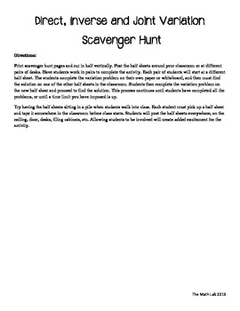 Direct, Inverse, and Joint Variation Scavenger Hunt