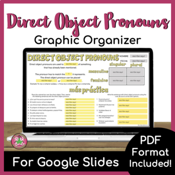 Direct Object Pronoun Graphic Organizer