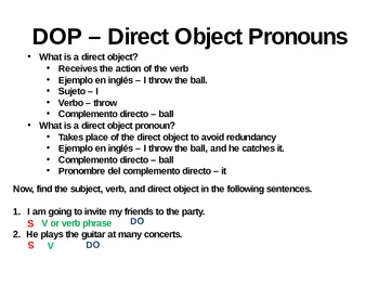 Direct Object Pronoun Lesson