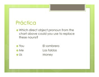 Spanish Direct Object Pronoun Notes