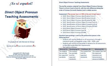 Direct Object Pronoun Quizzes  Teaching Material