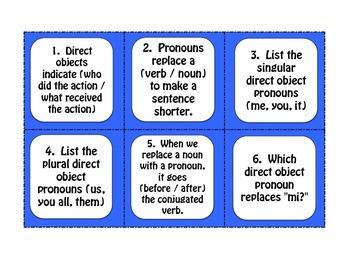 Spanish Direct Object Pronoun Task Cards