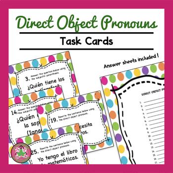 Direct Object Pronoun Task Cards