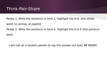 Direct Object Pronoun Think-Pair-Share