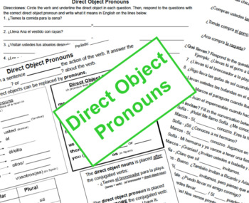 Direct Object Pronouns (Notes, Worksheet & Warm Up)