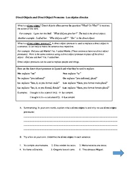 Direct Object Pronouns Notes and Practice Sheets Objetos directos