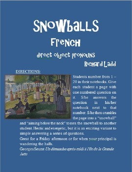 Direct Object Pronouns Snowballs FRENCH