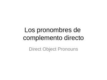 Direct Object Pronouns Summary