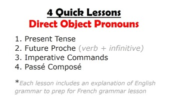 Direct Object Pronouns in French: Unit Pack