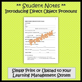 Direct Object Pronouns in Spanish - Guided Notes and Key