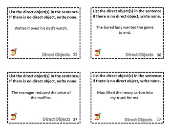Direct Object Task Cards ~ Great for Centers & Test Review!  Freebie!