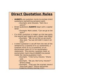 Direct Quotation Rules Review Reference Card (editable)