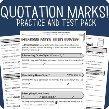 Quotation Marks Grammar Packet + Test