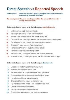 Direct Speech vs Reported Speech (Worksheet) | TpT