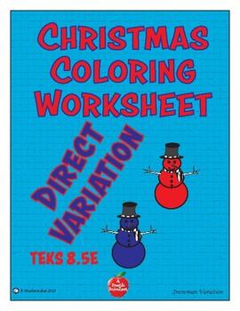 Direct Variation Christmas Coloring Worksheet 8.5e