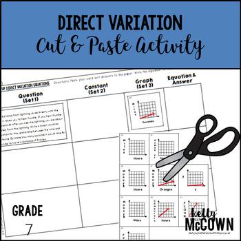 Direct Variation Cut & Paste Activity