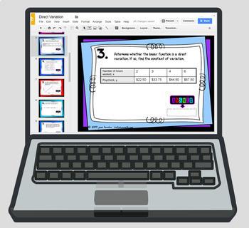 Direct Variation Digital Task Cards  with GOOGLE Slides