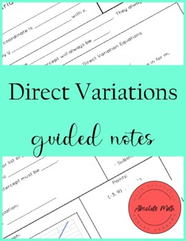 direct variation guided notes by absolute math tpt. Black Bedroom Furniture Sets. Home Design Ideas