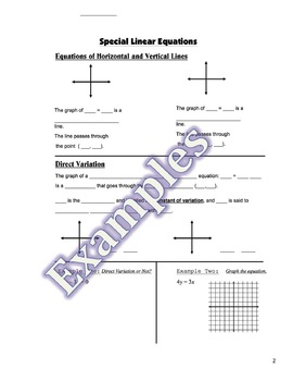 Direct Variation Guided Notes, Homework, PowerPoint