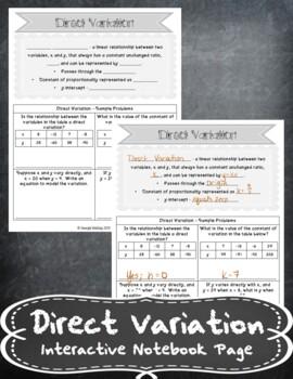 Direct Variation INB TEKS 8.5E