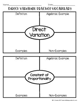 Direct Variation Notes