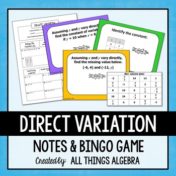 Direct Variation Notes and Bingo Game