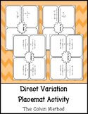 Direct Variation Placemat Activity