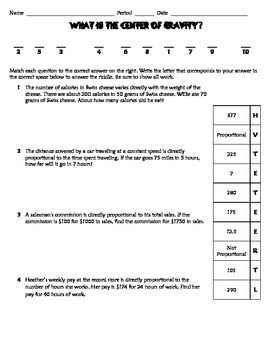 Direct Variation Practice Worksheet - Riddle - Fun