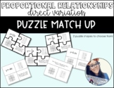 Direct Variation/ Proportional Relationships Puzzle Match Up