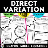 Direct Variation Sketch Notes & Practice