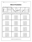 Direct Variation Writing Equations from Tables Worksheet