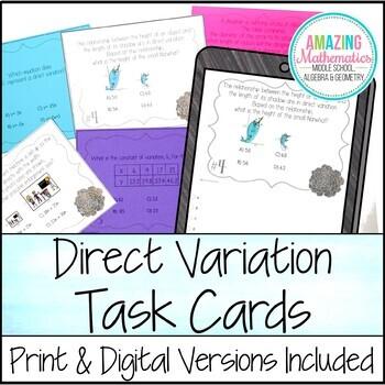 direct variation task cards by amazing mathematics tpt. Black Bedroom Furniture Sets. Home Design Ideas