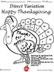 Direct Variation Thanksgiving Coloring Sheet