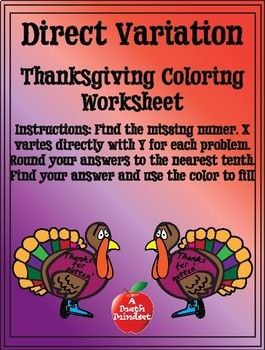 Direct Variation Thanksgiving Coloring Sheet by A Math Mindset | TpT