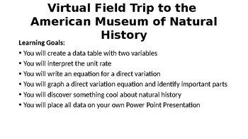 Direct Variation Virtual Field Trip